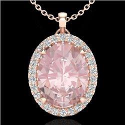2.75 CTW Morganite & Micro VS/SI Diamond Halo Solitaire Necklace 14K Rose Gold - REF-69T3M - 20592