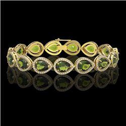 19.7 CTW Tourmaline & Diamond Halo Bracelet 10K Yellow Gold - REF-361Y3K - 41257