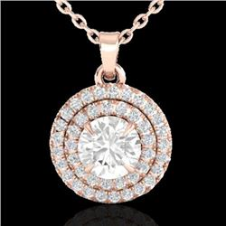 1 CTW Micro Pave VS/SI Diamond Solitaire Necklace Double Halo 14K Rose Gold - REF-133Y6K - 21541