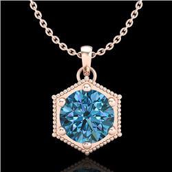 0.82 CTW Fancy Intense Blue Diamond Solitaire Art Deco Necklace 18K Rose Gold - REF-114H5A - 38049