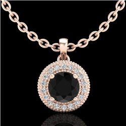 1 CTW Fancy Black Diamond Solitaire Art Deco Stud Necklace 18K Rose Gold - REF-98N2Y - 37661