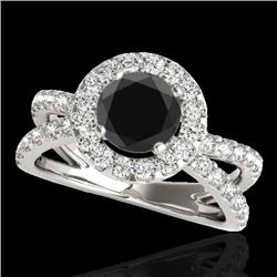 2.01 CTW Certified VS Black Diamond Solitaire Halo Ring 10K White Gold - REF-99Y5K - 34028