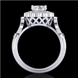 1.2 CTW VS/SI Diamond Solitaire Art Deco Ring 18K White Gold - REF-345W2F - 37049