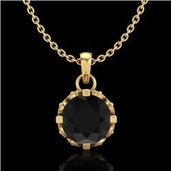 0.85 CTW Fancy Black Diamond Solitaire Art Deco Stud Necklace 18K Yellow Gold - REF-81T8M - 37368