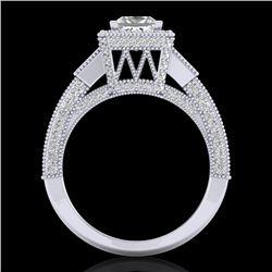 3.53 CTW Princess VS/SI Diamond Micro Pave 3 Stone Ring 18K White Gold - REF-618K2W - 37175