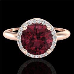 2.70 CTW Garnet & Micro Pave VS/SI Diamond Ring Designer Halo 14K Rose Gold - REF-45K6W - 23212