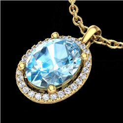3 CTW Sky Blue Topaz & Micro Pave VS/SI Diamond Necklace Halo 18K Yellow Gold - REF-49H3A - 21074