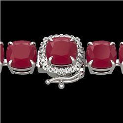 46 CTW Ruby & Micro Pave VS/SI Diamond Halo Designer Bracelet 14K White Gold - REF-254N5Y - 23322