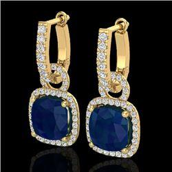 6 CTW Sapphire & Micro Pave VS/SI Diamond Earrings 18K Yellow Gold - REF-118K9W - 22971