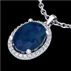3 CTW Sapphire & Micro Pave VS/SI Diamond Necklace Halo 18K White Gold - REF-59F3N - 21089