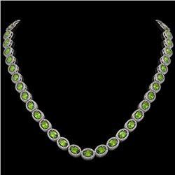 31.1 CTW Peridot & Diamond Halo Necklace 10K White Gold - REF-554A8X - 40427