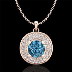 1.25 CTW Fancy Intense Blue Diamond Solitaire Art Deco Necklace 18K Rose Gold - REF-161Y8K - 38140