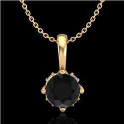 0.62 CTW Fancy Black Diamond Solitaire Art Deco Stud Necklace 18K Yellow Gold - REF-56H4A - 37795