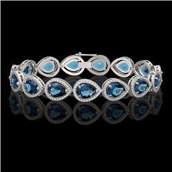 21.06 CTW London Topaz & Diamond Halo Bracelet 10K White Gold - REF-293A3X - 41270