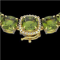 100 CTW Green Tourmaline & VS/SI Diamond Halo Micro Necklace 14K Yellow Gold - REF-800T9M - 23351