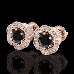 1.51 CTW Fancy Black Diamond Solitaire Art Deco Stud Earrings 18K Rose Gold - REF-89H3A - 37962