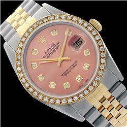 Rolex Men's Two Tone 14K Gold/SS, QuickSet, Diamond Dial & Diamond Bezel - REF-557N5A