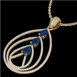 2 CTW Sapphire & Micro Pave VS/SI Diamond Designer Necklace 18K Yellow Gold - REF-133W3F - 22472