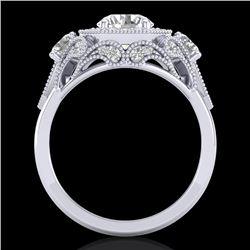 2.11 CTW VS/SI Diamond Solitaire Art Deco 3 Stone Ring 18K White Gold - REF-472K8W - 37328