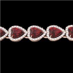 25 CTW Garnet & Micro Pave VS/SI Diamond Bracelet Heart Halo 14K Rose Gold - REF-376F8N - 22616