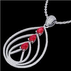 2 CTW Ruby & Micro Pave VS/SI Diamond Designer Necklace 18K White Gold - REF-133X3T - 22469