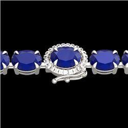 23.25 CTW Sapphire & VS/SI Diamond Tennis Micro Pave Halo Bracelet 14K White Gold - REF-138M2H - 402