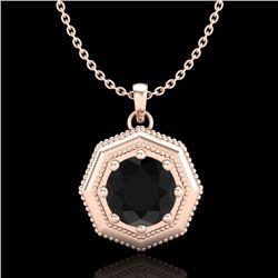 0.75 CTW Fancy Black Diamond Solitaire Art Deco Stud Necklace 18K Rose Gold - REF-44N5Y - 37941