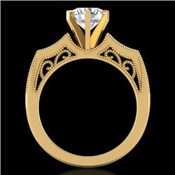 1.51 CTW VS/SI Diamond Solitaire Art Deco Ring 18K Yellow Gold - REF-442K5W - 37078