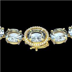 136 CTW Aquamarine & VS/SI Diamond Halo Micro Eternity Necklace 14K Yellow Gold - REF-1363N6Y - 2229