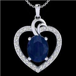 4 CTW Sapphire & VS/SI Diamond Designer Inspired Heart Necklace 14K White Gold - REF-74Y9K - 20496