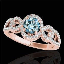 1.38 CTW Si Certified Fancy Blue Diamond Solitaire Halo Ring 10K Rose Gold - REF-174H5A - 33924