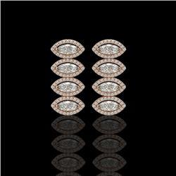 5.33 CTW Marquise Diamond Designer Earrings 18K Rose Gold - REF-986W2F - 42783