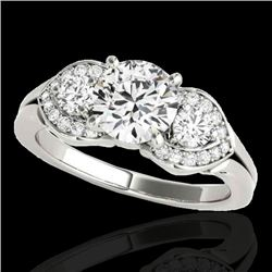 1.45 CTW H-SI/I Certified Diamond 3 Stone Ring 10K White Gold - REF-180F2N - 35331