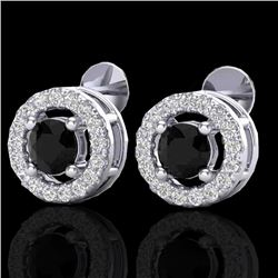0.75 CTW Micro Pave VS/SI Diamond Earrings Halo 18K White Gold - REF-44N5Y - 20056
