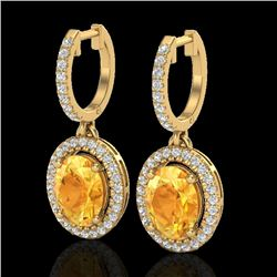 3.50 CTW Citrine & Micro Pave VS/SI Diamond Earrings Halo 18K Yellow Gold - REF-94W5F - 20321
