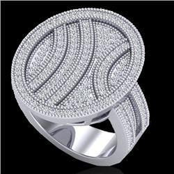 1.25 CTW Micro Pave VS/SI Diamond Ring 14K White Gold - REF-111A3X - 20876