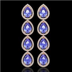 11.2 CTW Tanzanite & Diamond Halo Earrings 10K Rose Gold - REF-286K9W - 41292