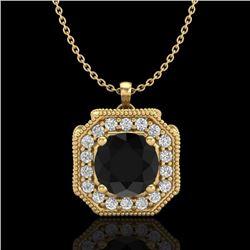 1.54 CTW Fancy Black Diamond Solitaire Art Deco Stud Necklace 18K Yellow Gold - REF-120Y2K - 38292