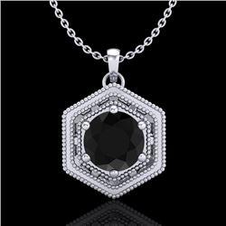 0.76 CTW Fancy Black Diamond Solitaire Art Deco Stud Necklace 18K White Gold - REF-47T3M - 37513