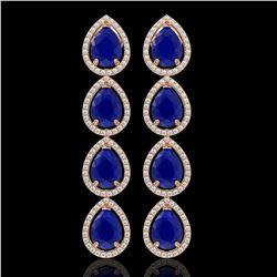 16.01 CTW Sapphire & Diamond Halo Earrings 10K Rose Gold - REF-186W5F - 41289
