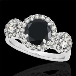 1.75 CTW Certified VS Black Diamond Solitaire Halo Ring 10K White Gold - REF-87W8F - 33286