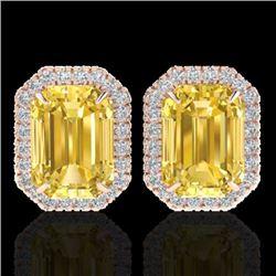 8.40 CTW Citrine & Micro Pave VS/SI Diamond Halo Earrings 14K Rose Gold - REF-64K5W - 21221