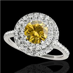 1.5 CTW Certified Si Fancy Intense Diamond Solitaire Halo Ring 10K White Gold - REF-163K6W - 33357