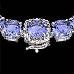 100 CTW Tanzanite & VS/SI Diamond Halo Micro Eternity Necklace 14K White Gold - REF-1345A3X - 23361