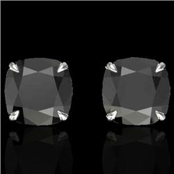 6 CTW Cushion Cut Black VS/SI Diamond Designer Stud Earrings 18K White Gold - REF-141Y8K - 21735
