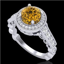 1.91 CTW Intense Fancy Yellow Diamond Engagement Art Deco Ring 18K White Gold - REF-263F6N - 37686