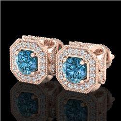2.75 CTW Fancy Intense Blue Diamond Art Deco Stud Earrings 18K Rose Gold - REF-290K9W - 38287