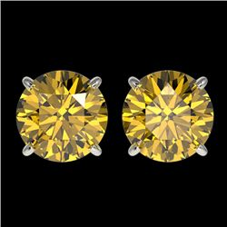 2.50 CTW Certified Intense Yellow SI Diamond Solitaire Stud Earrings 10K White Gold - REF-427W5F - 3