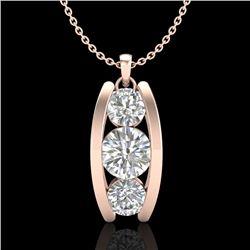 1.07 CTW VS/SI Diamond Solitaire Art Deco Stud Necklace 18K Rose Gold - REF-158K2W - 37014