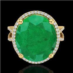 12 CTW Emerald & Micro Pave VS/SI Diamond Halo Ring 18K Yellow Gold - REF-143X6T - 20961